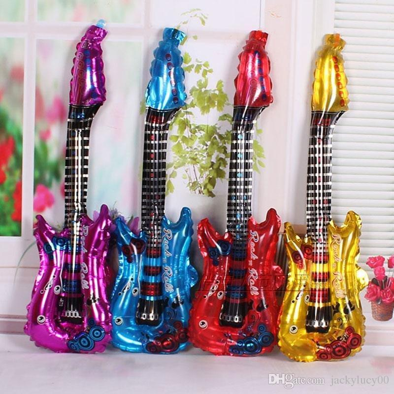Guitar inflatable Cheer foil balloon stick for birthday party decor kid toy HK