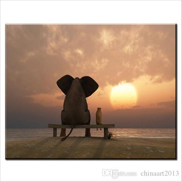 Satın Al Fil Köpek Gün Batımı Manzara Izlemek Hd Baskı Manzara