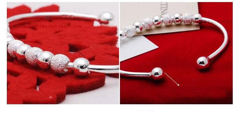 New Cheap Silver Bangle Fine Jewelry White Gold Plating Wedding Jewelry 925 Sterling Silver Bracelet Bangles Silver Beads Bangle Hot Selling