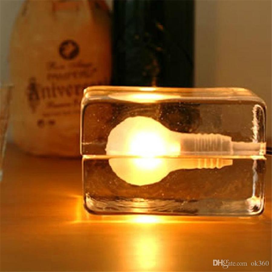 Cristallo creativa blocco lampada da tavolo di ghiaccio di vetro moderno lampada da tavolo a LED G9 * 40W lampadine Notte Harri Koskinen casa light design a blocchi le vacanze