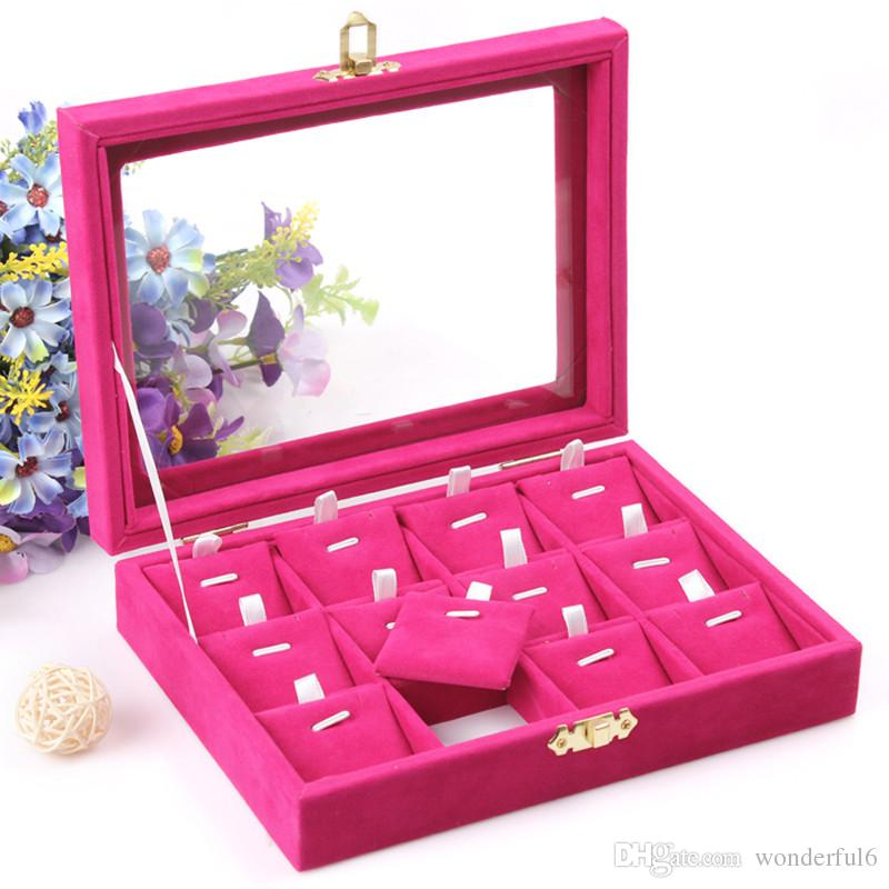 High Quality Jewelry Storage Box Necklace Pendants Case Ring Earring Holder Jewelry Accessories Showcase With Glass Cover