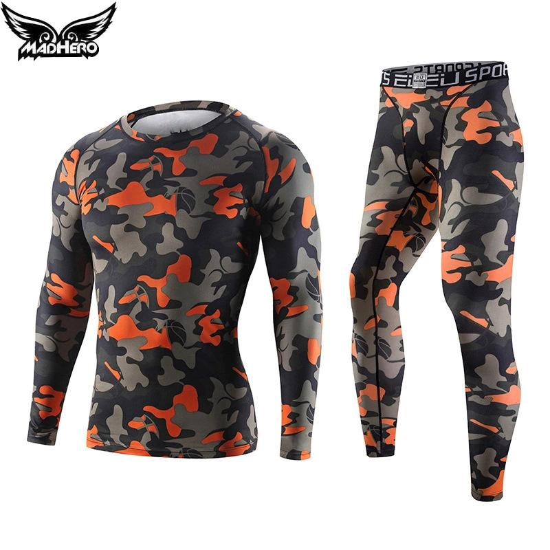 Compressione sportiva all'ingrosso-Brand T-Shirt Camouflage + Collant 2Pcs Training Tuta Elastico Gym Leggings Fitness Running Set