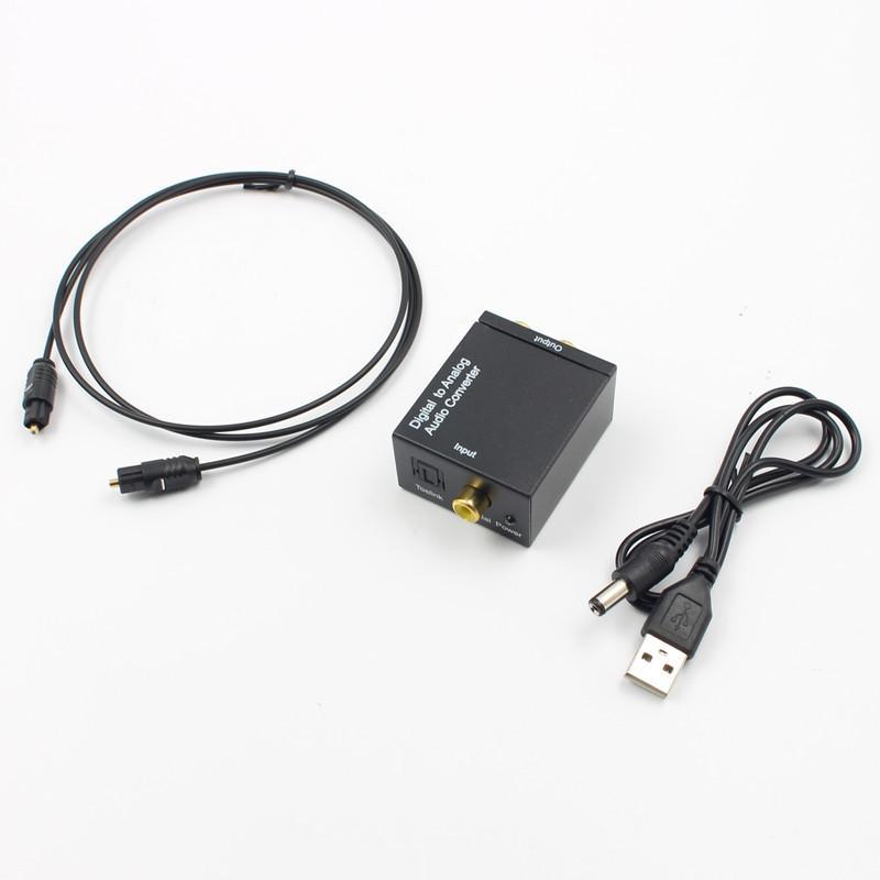 Ücretsiz kargo Dijital analog Dönüştürücüler Ses Dönüştürücü Dijital Optik Koaksiyel RCA Toslink Analog Ses Dönüştürücü Adaptör