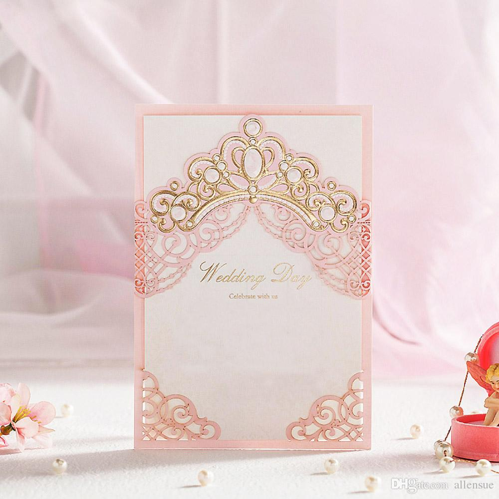 Pink Hollow Gold Foil Shiny Crown Laser Cut Wedding Invitations