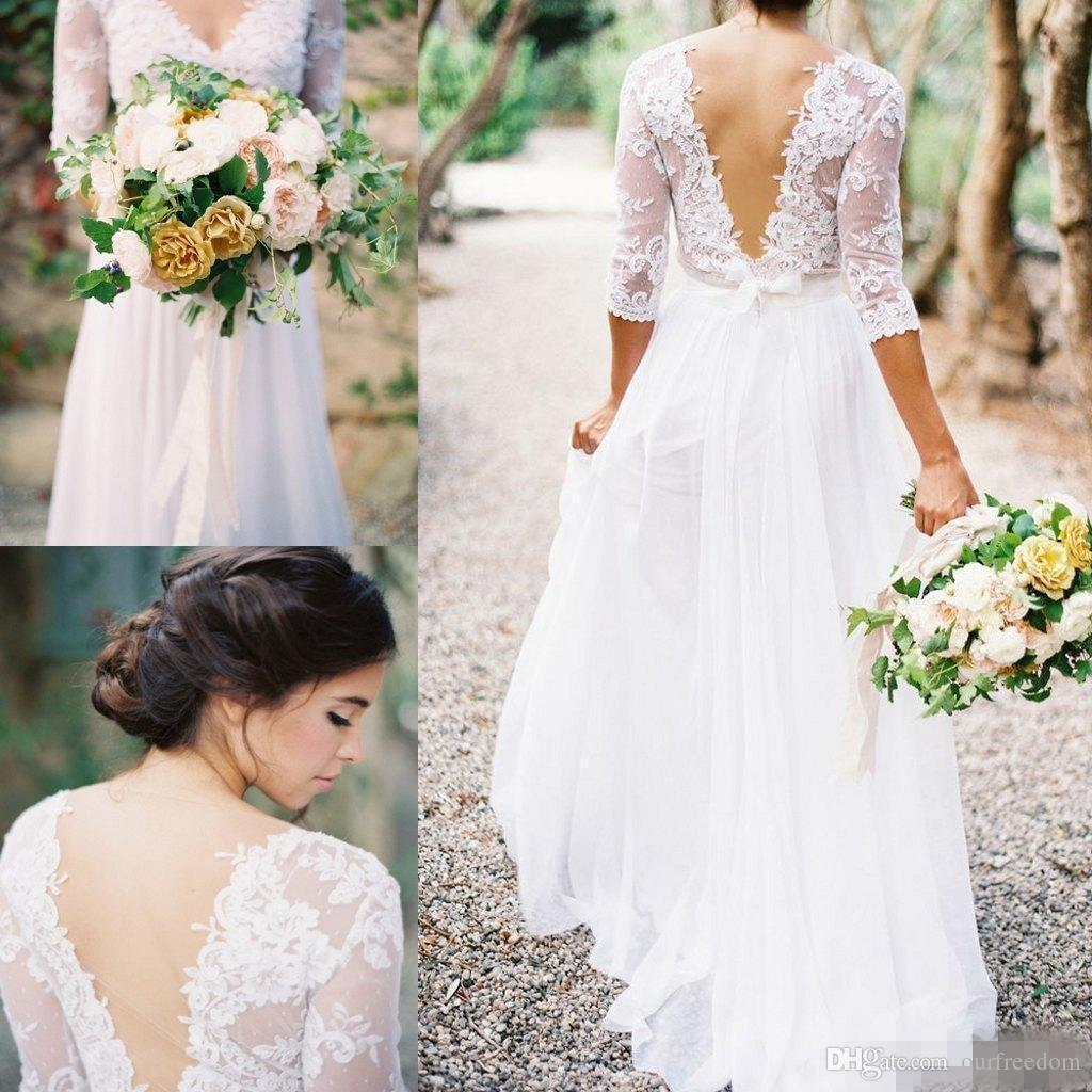 2019 goedkope kant v-hals bruiloft backless back 3 4 lange mouwen land stijl bruidsjurken plus size sjerp bruidsjurken