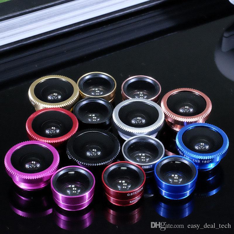 3 in 1 Universal Clip Fish Eye Wide Angle Macro Phone Fisheye glass camera Lens For iPhone Samsung Cheap Price ZJ0089