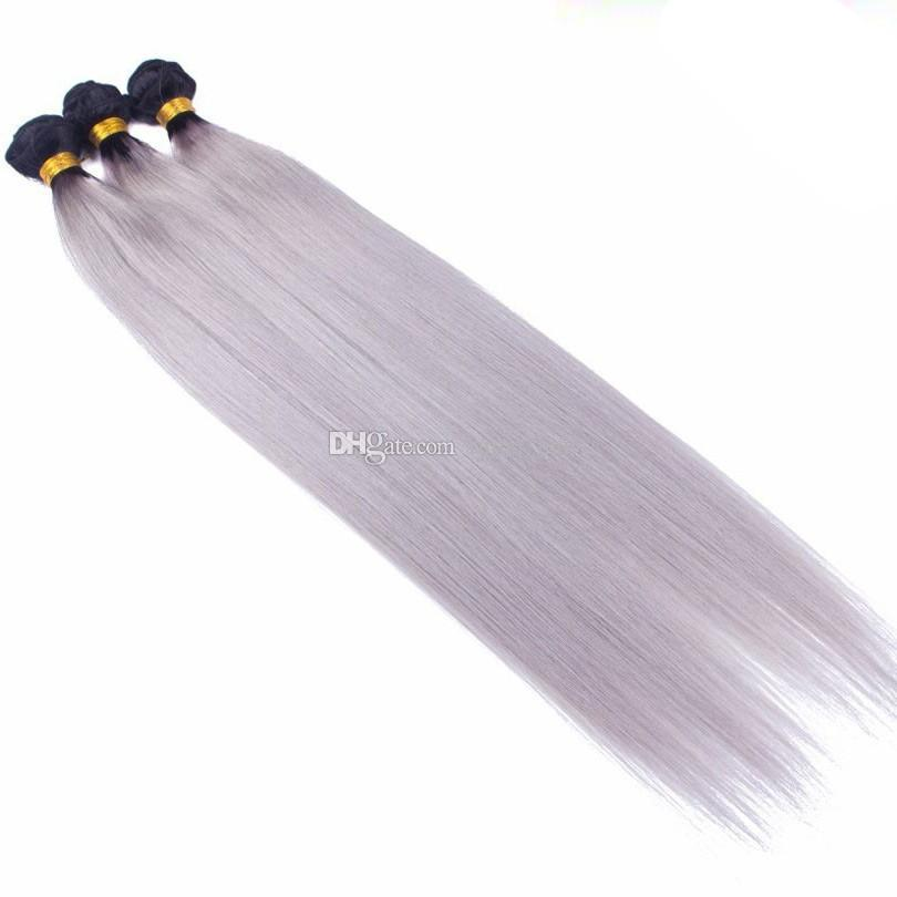 Unprocessed Brazilian Hair Ombre Weave two tone color 1b Grey Peruvian hair Bundles Straight wave human hair extension gray bundles