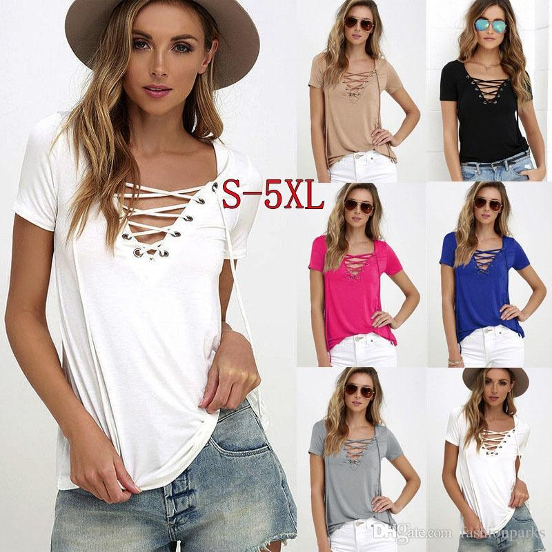 da6528d3359a7 Con Shirt Acquista Sexy Scollo Lady Bandage Donna T Fashion Cross HHg8w