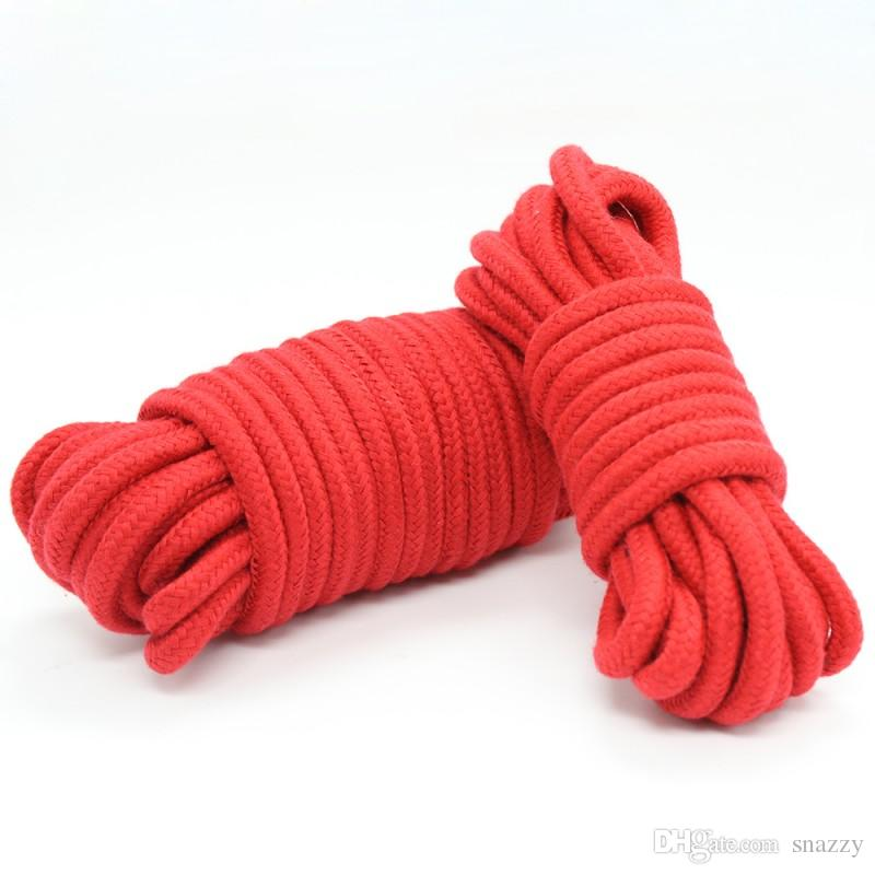 10M Soft Cotton Rope Harmless Thick Strong Fetish Sex Bondage Ropes Harness Adult Flirting SM Game Toys for Women Men Red purple black