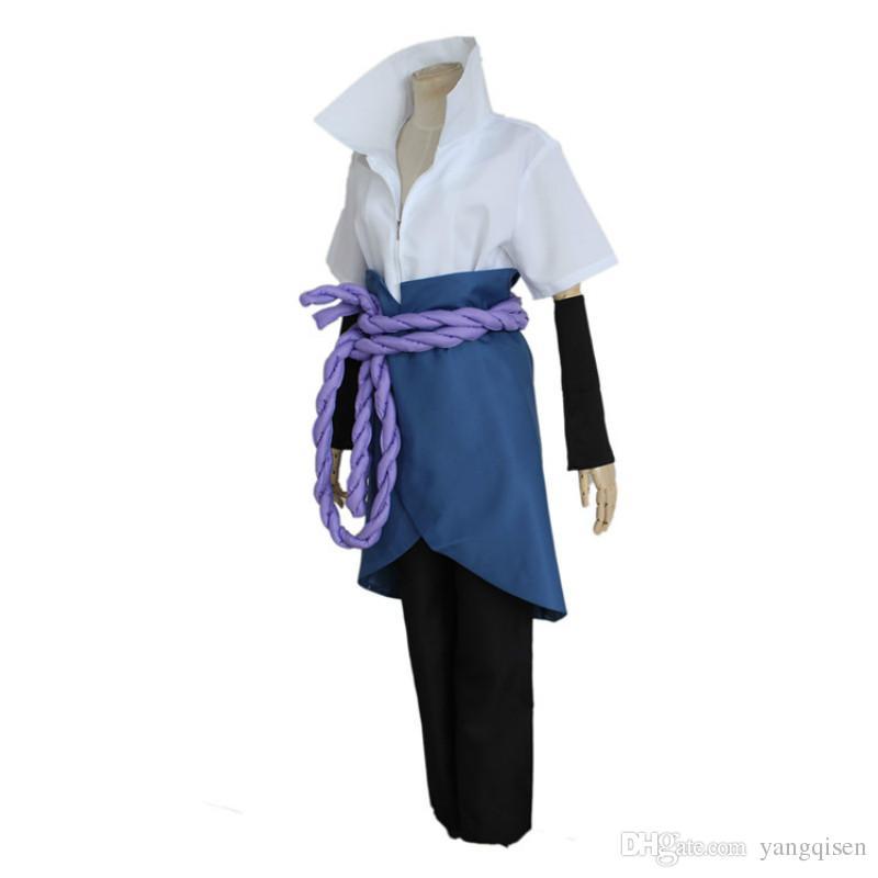 Naruto Cosplay Costume Konoha Uchiha Sasuke 4th Generation Suit with Nursing