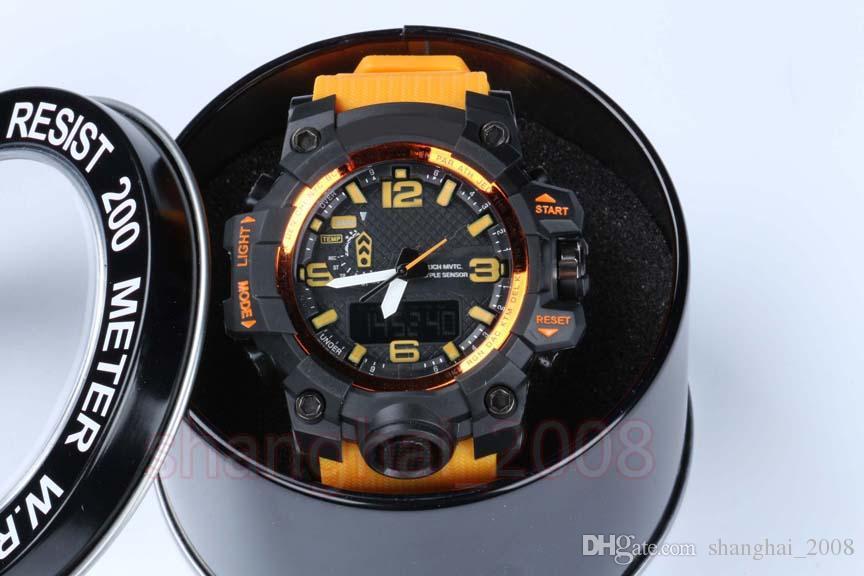 Saatler Promosyon Hardlex Yeni Varış Plastik Unisex ordu saatler, GWG LED chronograph kol saati, kutu damla shiping ile askeri izle
