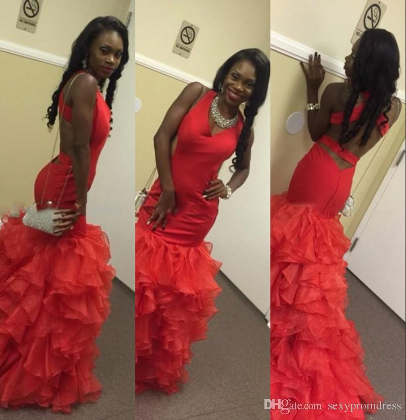 ef87b25fb518 Elegant Black Girl Prom Dresses Red Halter Tiered Mermaid Evening Gowns  South African Style Backless Organza Rufhed Formal Party Dress Prom Dress  Sales Prom ...