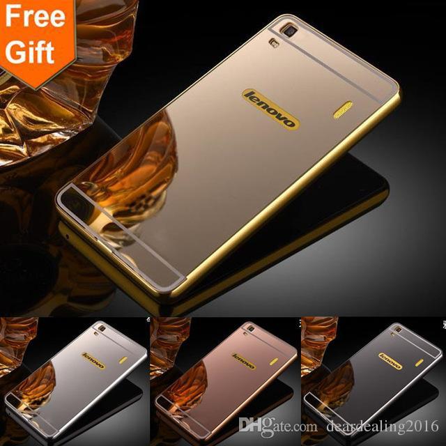 official photos 810a0 e64ea For Lenovo K3 Note case Lenovo A7000 Luxury Gold Plating Armor Aluminum  Metal Frame Mirror Acrylic Case phone Back Cover