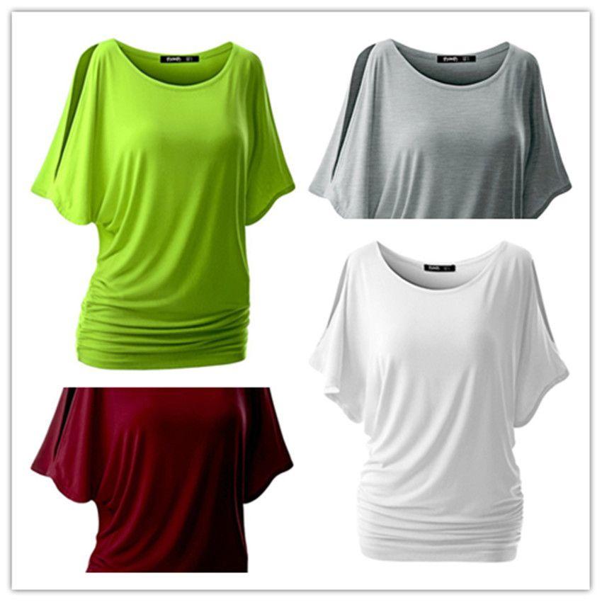 5712e5ab753 2018 New Cotton T Shirt Women Hot Tops Round Neck Bat Sleeve Tops T ...