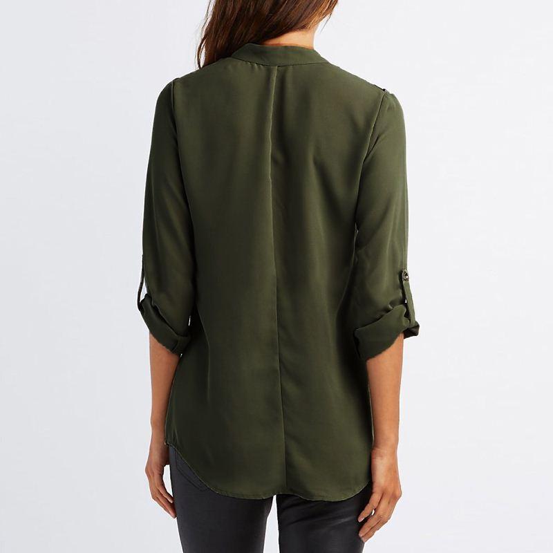 Autunno Blusas donne camicette Open spalla Office Ladies Shirt allentato con scollo a V Sexy Casual Top Plus Size Abbigliamento donna LJ5437T