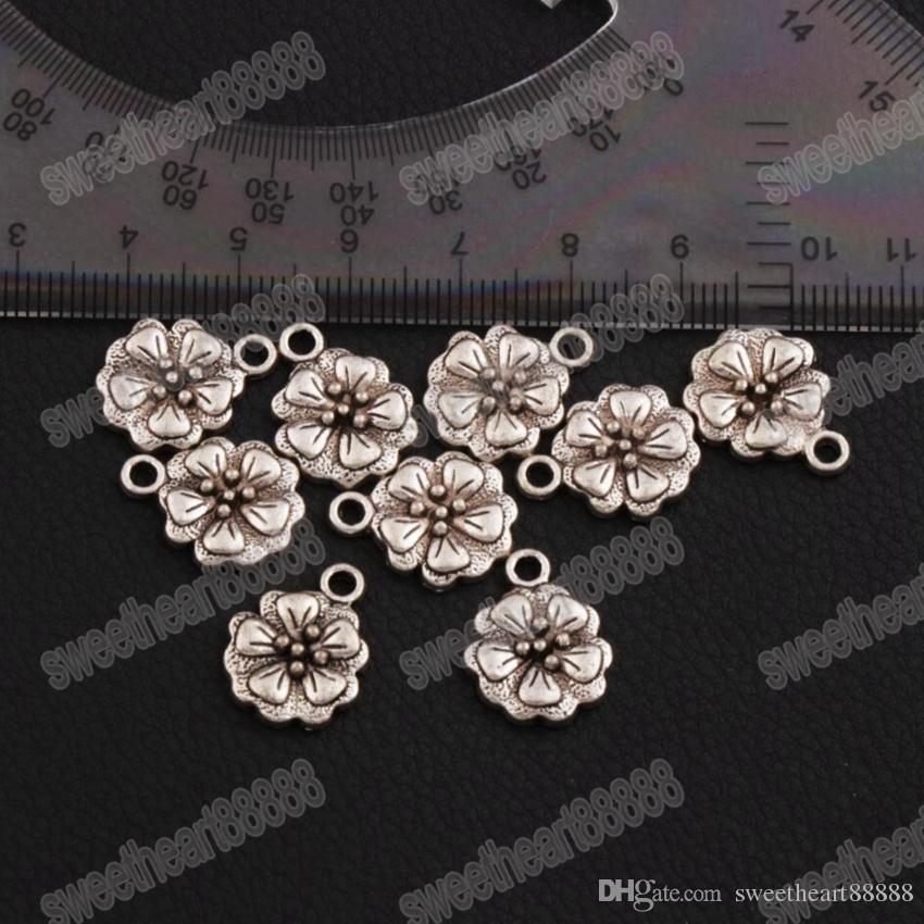 Begonya çiçekler Spacer Charm Boncuk Sıcak 180 adet / grup Antik Gümüş Kolye Alaşım El Yapımı Takı DIY L344