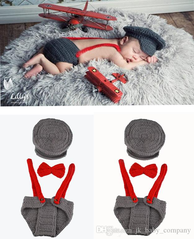 Accesorios para la fotografía de los recién nacidos Photo Props Infant  Knitting Outfit Crochet Baby Boy Gentleman Hat Bow Tie Pantalones Set de ...