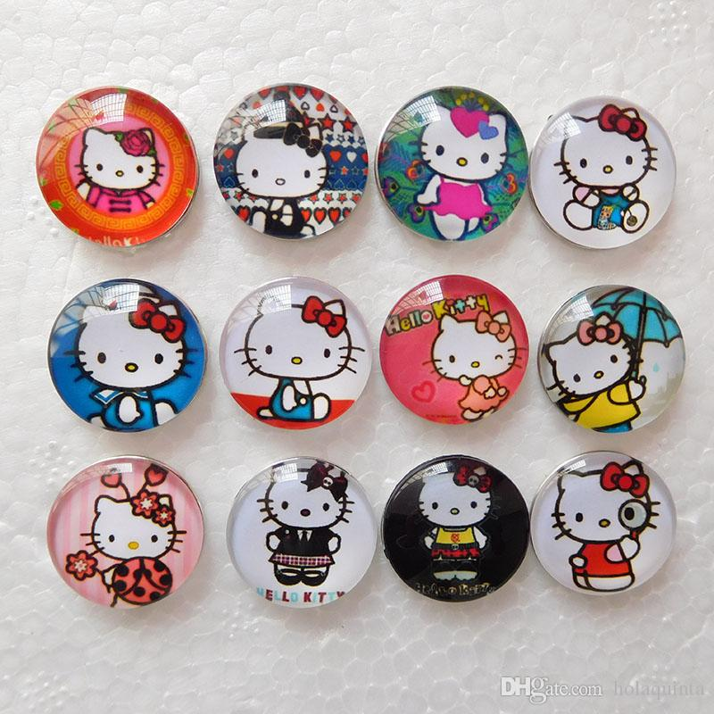 Cute Noosa Snaps Hello Kitty Snap Button Jewelry Kids Glass Snap Buttons For Ginger Snap Charm Bracelets 18mm