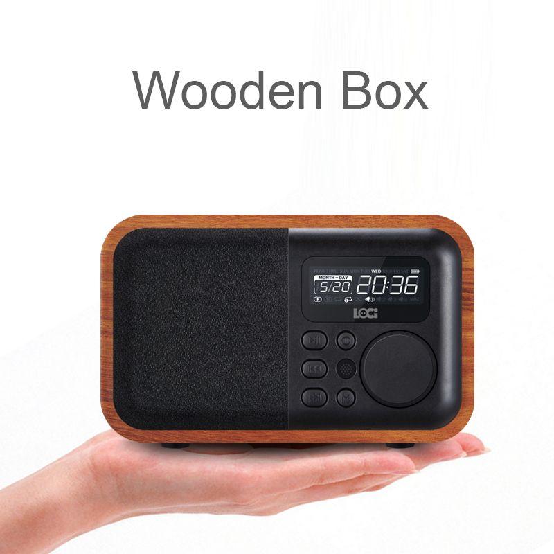 Multimídia Bluetooth Bluetooth Hands-Free Micphone Speaker Ibox D90 com FM Radio Despertador TF / USB MP3 Player Retro Wood Box Bamboo Subwoofer