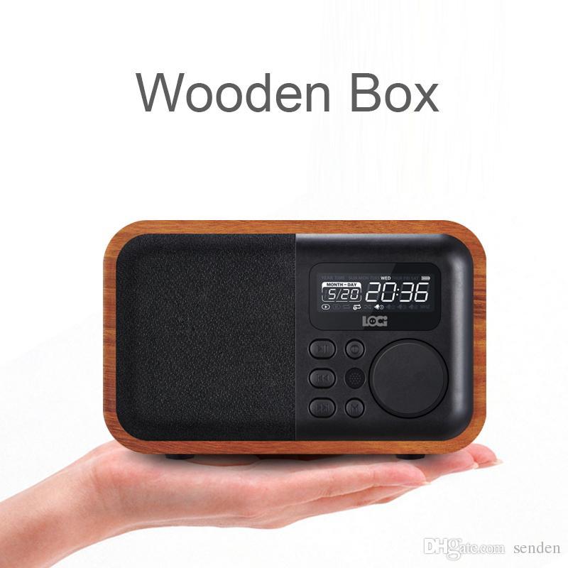 Multimedia Bluetooth de madera Mano-Libre de Michone Speaker Ibox D90 con radio FM Reloj de alarma TF / USB Reproductor de MP3 Retro Caja de madera Bambú Subwoofer