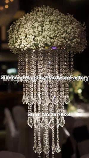 Uzun boylu akrilik plastik boncuk düğün ayağı çiçek standı, koridor dekorasyon için vazo centerpieces