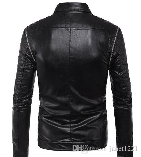 Men Bomber PU Jackets Plus Size Motorcycle Mens Jacket Outwears Black British Multi Zippers Style Men Racing Winter Faux Jackets T170722