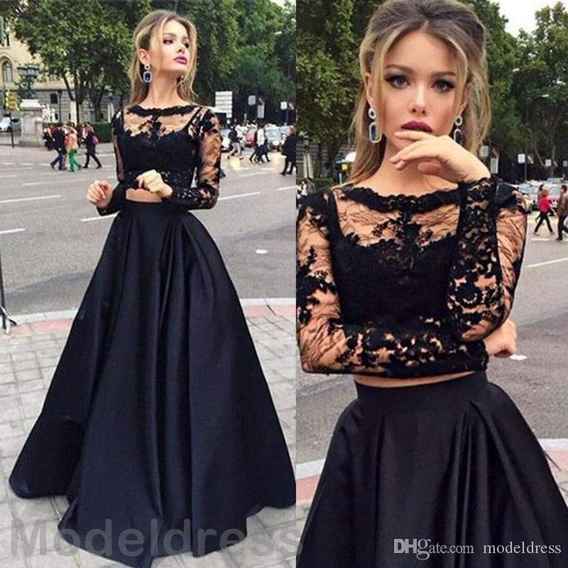 New Two Pieces Lace Party Dresses Sheer Neckline Long Sleeves Appliques Long  Satin Black Evening Party Dress Special Occasions Gowns Cheap Nice Party ... 02bd338eb9dc