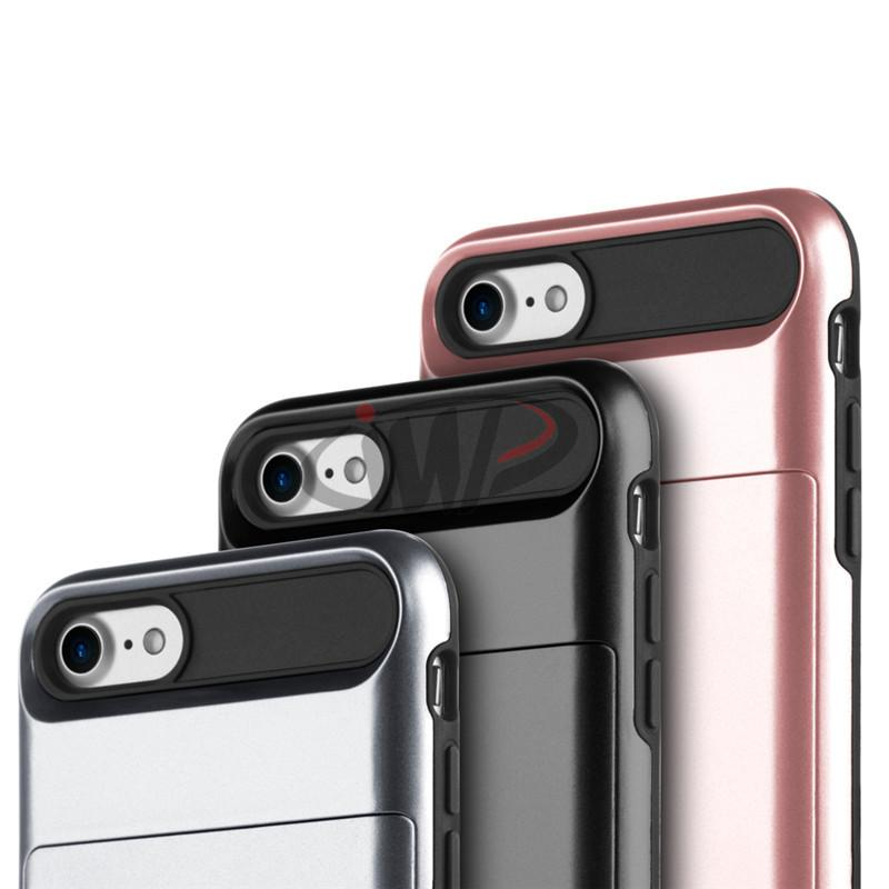 For iPhone 8 7 4.7 Plus 5.5 inch Hybrid Hard Phone Back Case Card Slider Slot Cover for iPhone7 i7+