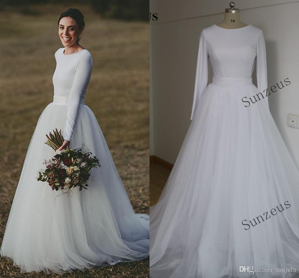 Discount Elegant Long Sleeve Wedding Dresses Two Piece Bridal Gowns Jersey And Tulle Country Bride Dress Ivory Online Sale: Long Cream Wedding Dresses At Websimilar.org