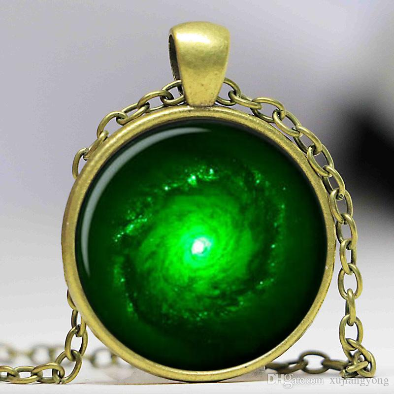 Hot Selling OUTER SPACE JEWELRY Nebula Necklace Black   Green Galaxy  Universe Pendant Glass Cabochon Necklace A1095 Necklace Fashion Pendant  Online with ... 0cd4cac6d698