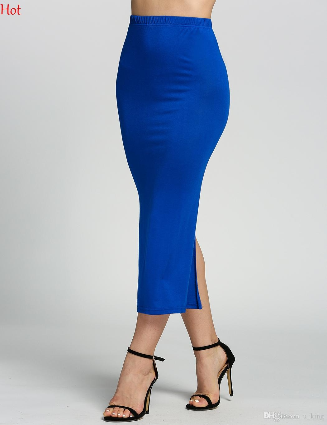 8ee73ab634 2019 High Waist Modal Skirt Bodycon Slim Fit Sexy Pencil Skirts Maxi Long  Casual Mermaid Skirt Party Bar Club Travel Colors Split Skirt SV018491 From  U_king ...
