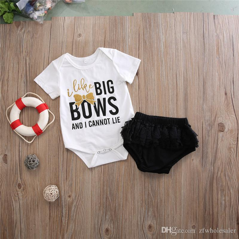 Baby Girl Clothes Toddlers Romper Set Girls Tutu Dress White Cotton Rompers Black Lace Underpants Ruffle Bloomers Shorts Newborn Clothing