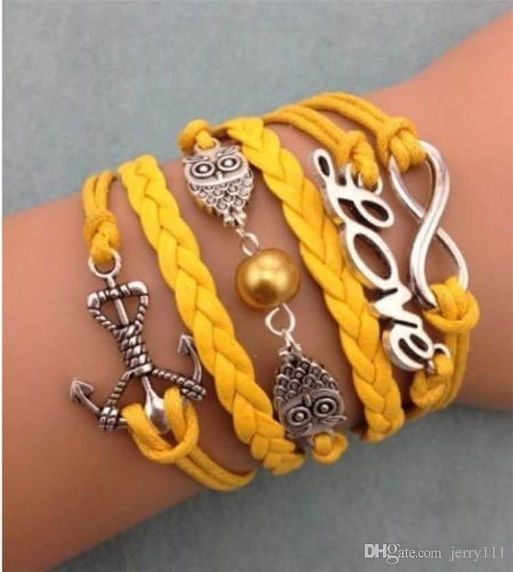 Leather Bracelet Antique Cross Anchor Love Peach Heart Owl Bird Believe Pearl Knitting Bronze Charm Bracelets TA134