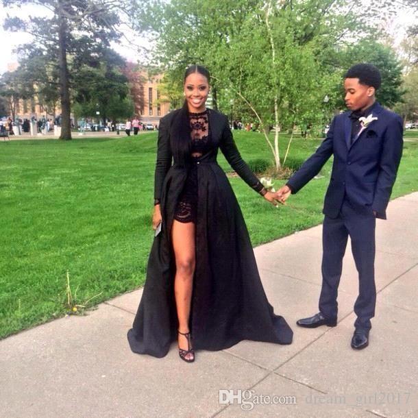 Hot 2k15 robes de bal noir deux pièces bijou cou dentelle robe courte avec détaché manches longues balayage train en taffetas veste noire fait sur commande