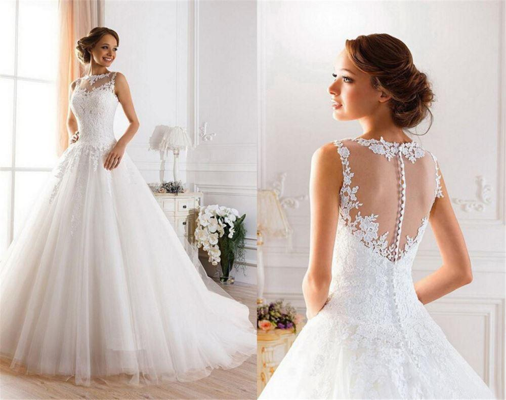 Discount Hot Lace White Ivory A Line Wedding Dresses For Bride Gown ...