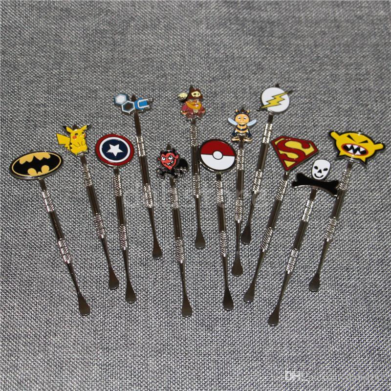 New Arrival 12 색 Dabber tool with fashion deign stickers Pokeball, Batman, Captain, superhero, Flash and Skull wax Dab 툴 120mm Jars Tool