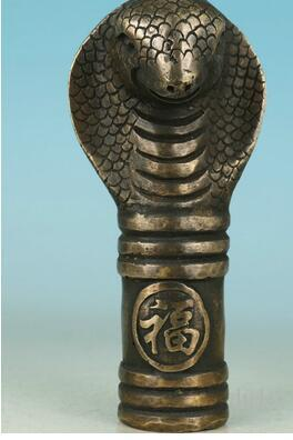 Güzel Çin Bronz Koleksiyon El Oyma Yılan Heykeli Baston Kafa