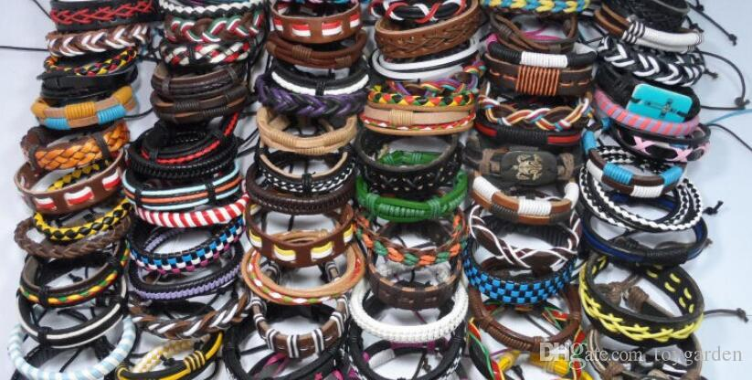Lots of 10 pcs Mixed Style Surfer Cuff Ethnic Tribal Leather Bracelets Wholesal