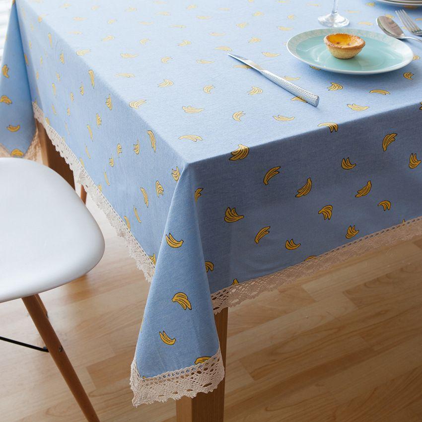 Cute Cartoon Cotton And Linen Decorate Tablecloth Blue Banana Tea Table Cloth Creative With Lace Vinyl Tablecloths Plastic