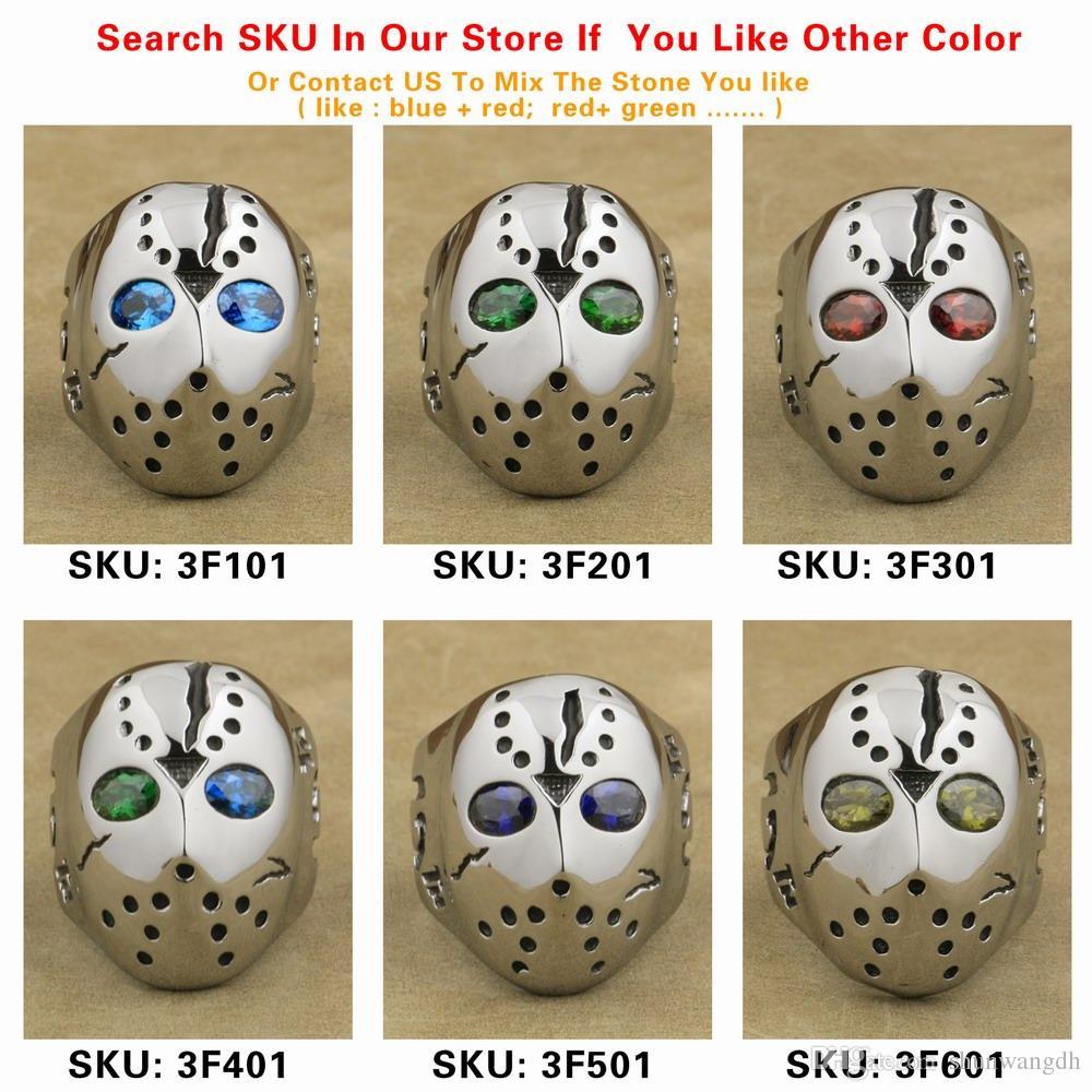 LINSION 316L Stainless Steel Halloween Jason Mask Hockey Green CZ Eyes Mens Biker Rocker Punk Ring Cubic Zirconia Ring 3F201
