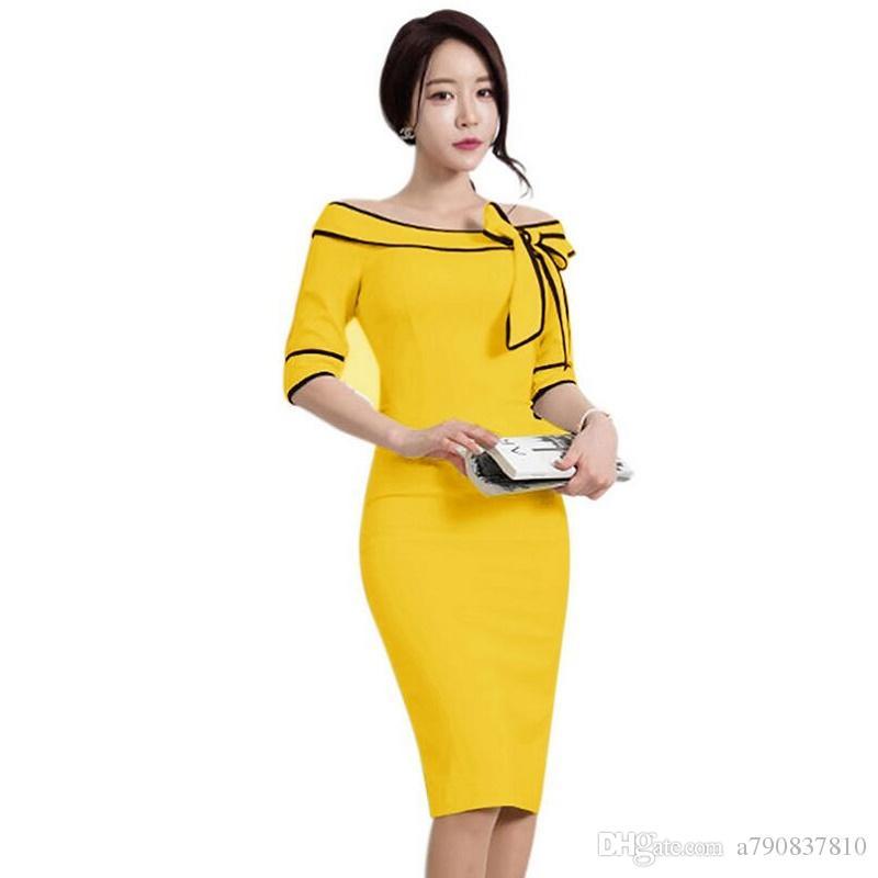 0dd84666b9 Compre Vestidos Para Mujer Elegante Producto Que Vende Bowknot Palabra  Cuello Mangas Bolsillos Hip Stretch Lápiz Vestido Bodycon Evening Party  Dress Venta ...