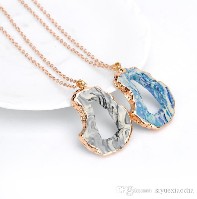 Hot kite Necklace, Hollow out Durzy Nature Stone Acrylic Pendant Gemstone Druzy Jewelry Nice gift