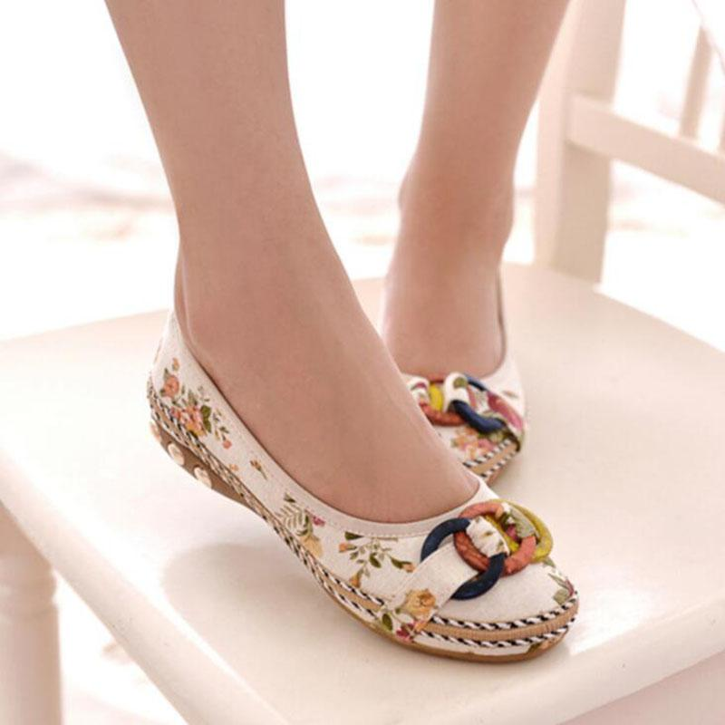 Plus Size Fashion Women Shoes Old Beijing Mary Jane Flats With Casual Shoes Chinese Style Embroidered Cloth shoes woman bow shoe