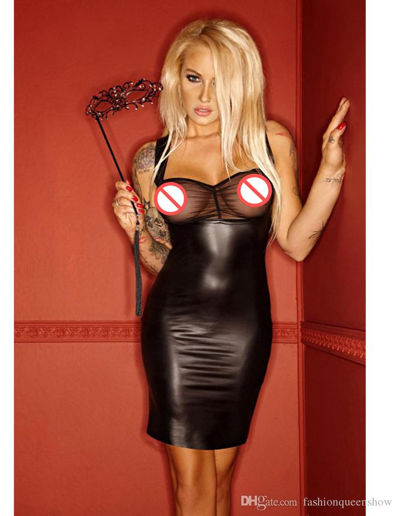 Hot Sexy Low Cut Dress Mesh Patchwork Mini Dress Wetlook Transparent Faux Leather Clubwear Vestido Punk Gothic Dresses