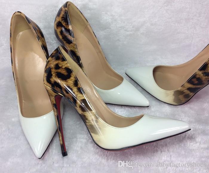 Sexy Mujeres Stiletto Tacones Altos Zapatos de Vestir de Primavera Leopardo Mujeres Zapatos de Boda de Charol Zapatos de Negocios de Mujer Señoras Bombas Tamaño grande 44