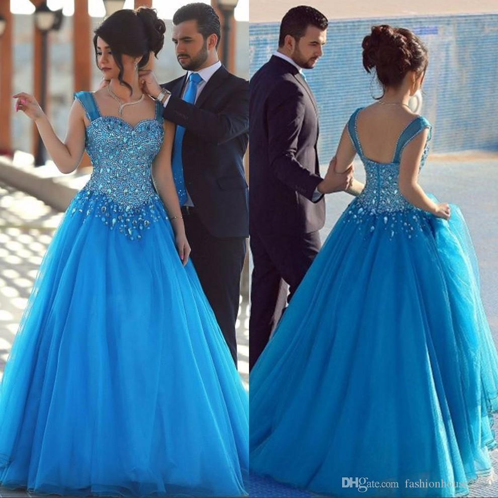 Blue Tulle Crystal Evening Gowns Arabic Evening Dresses Long Organza ...