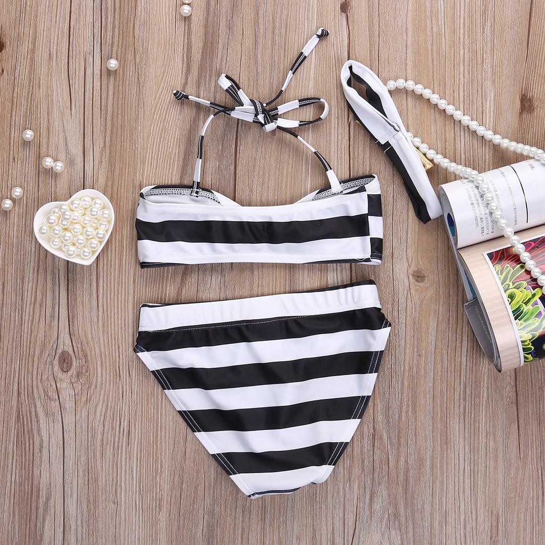 Neue koreanische Baby-Mädchen-Bikinistreifen Kinder Badebekleidung Baby-Badeanzug Rüsche / Bogen Prinzessin drei Stücke Badebekleidung + Bowknot Stirnband