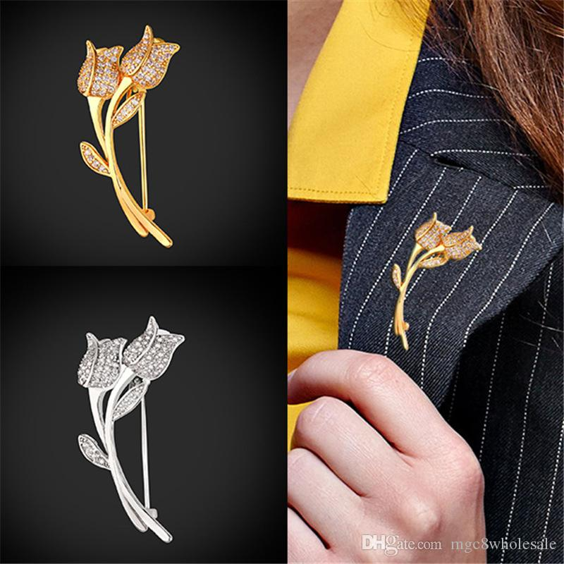 U7 New Fashion Rose Flower CZ Brooch for Women Jewelry Trendy Gold/Platinum  Plated Lapel Pins and Brooches Mother s Day Gift B2484