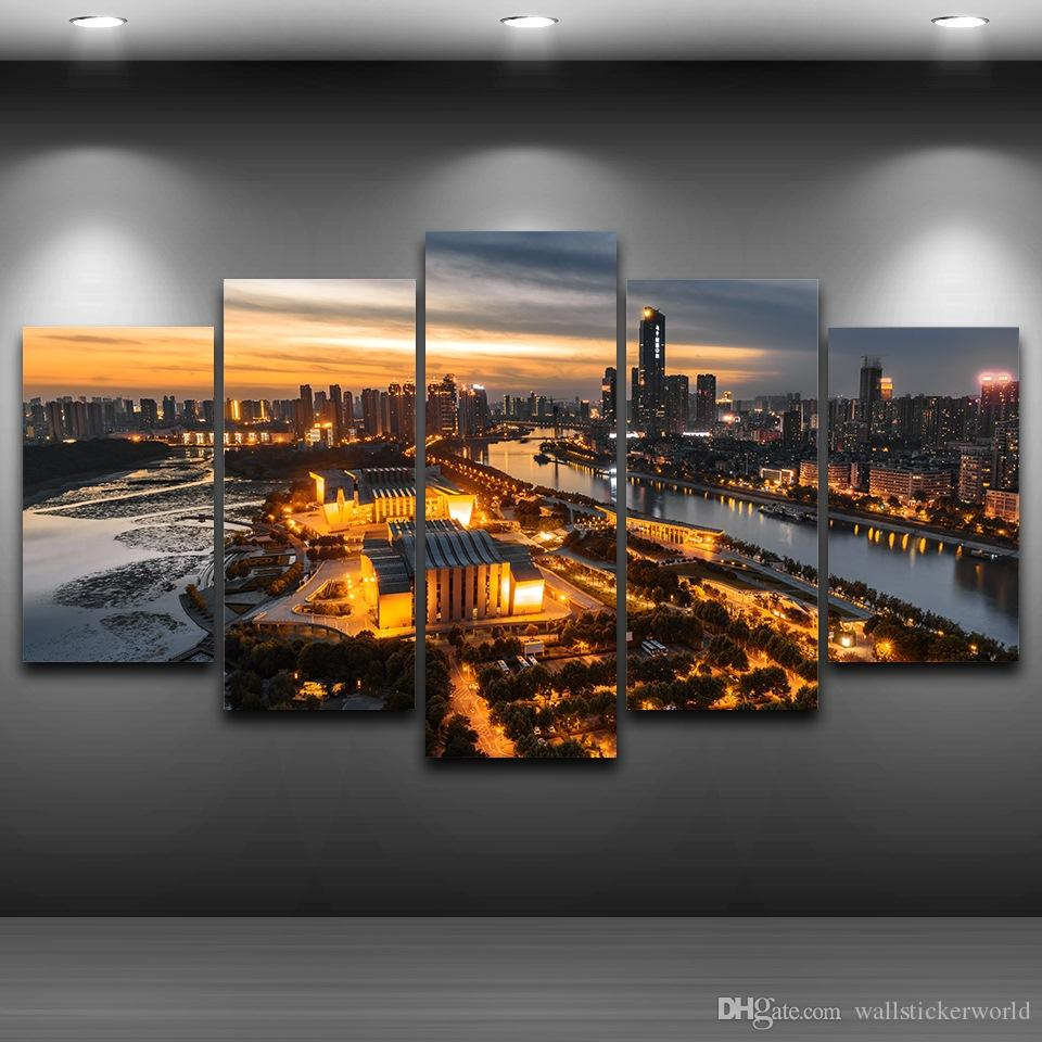 Modern City Night Spray Oil Painting Decoration Framed wall art picture Artistic Printed Drawing on Canvas Printed Home Decor