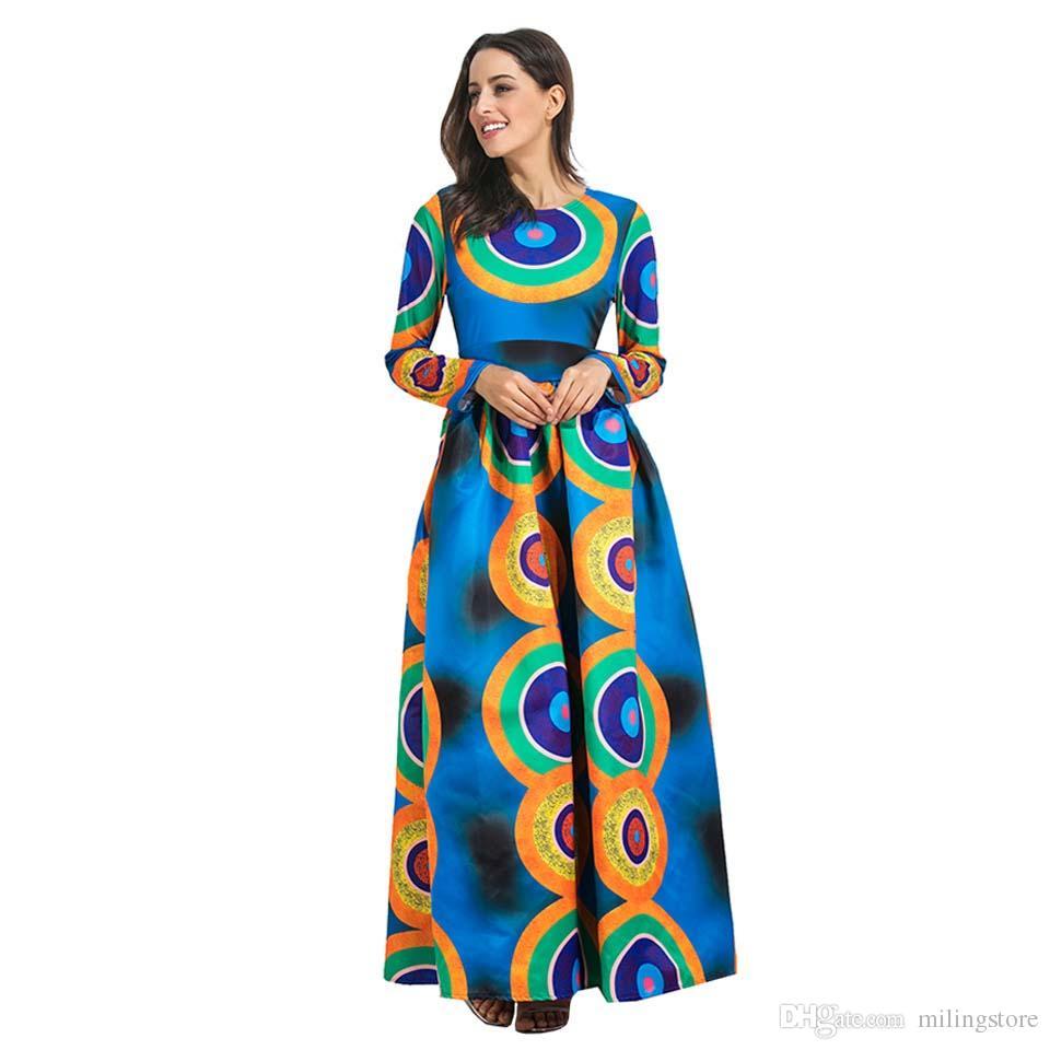 Autumn Winter African Print Maxi Long Dresses Women